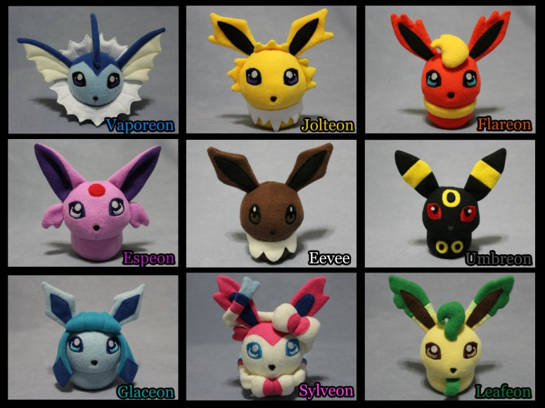 Eevee & Eevelutions collage HD with color names