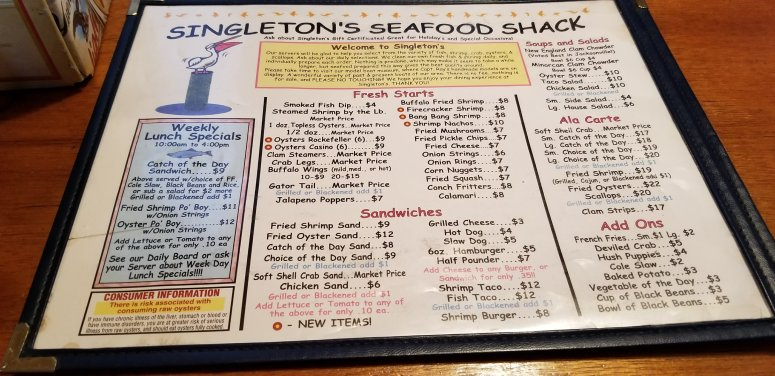 Singleton's Seafood Shack Menu