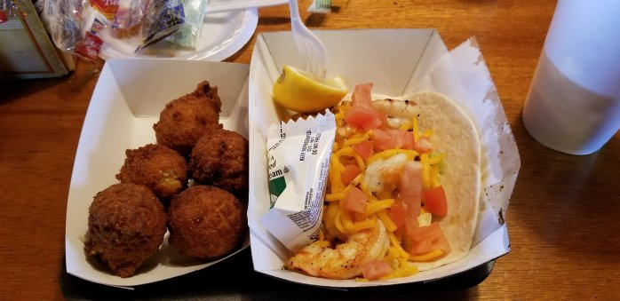 Singleton's Seafood Shack Shrimp Taco with order of Hushpuppies
